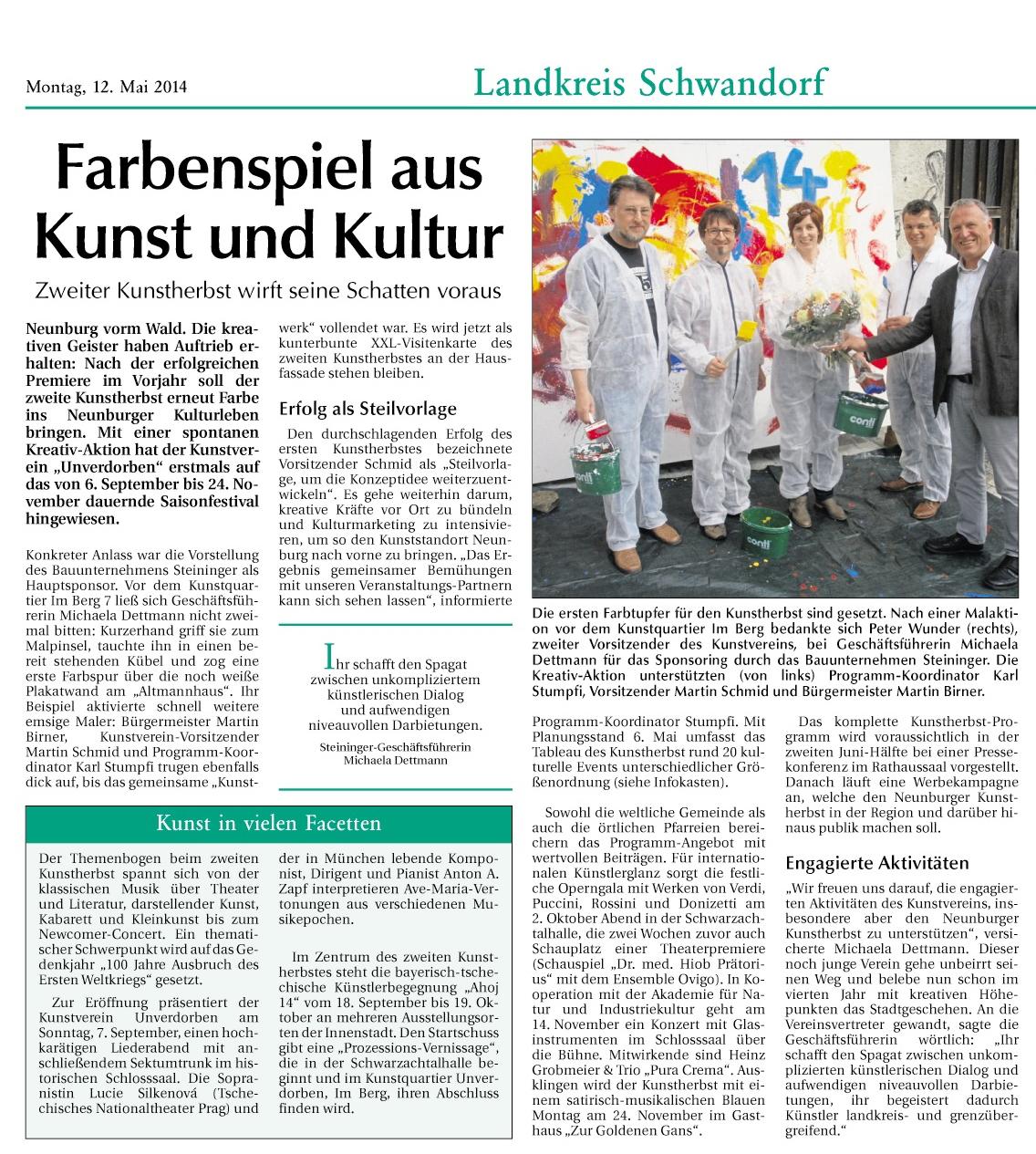Der Neue Tag berichtet über die Sponsorenvorstellung 2. NEUNBURGER KUNSTHERBST
