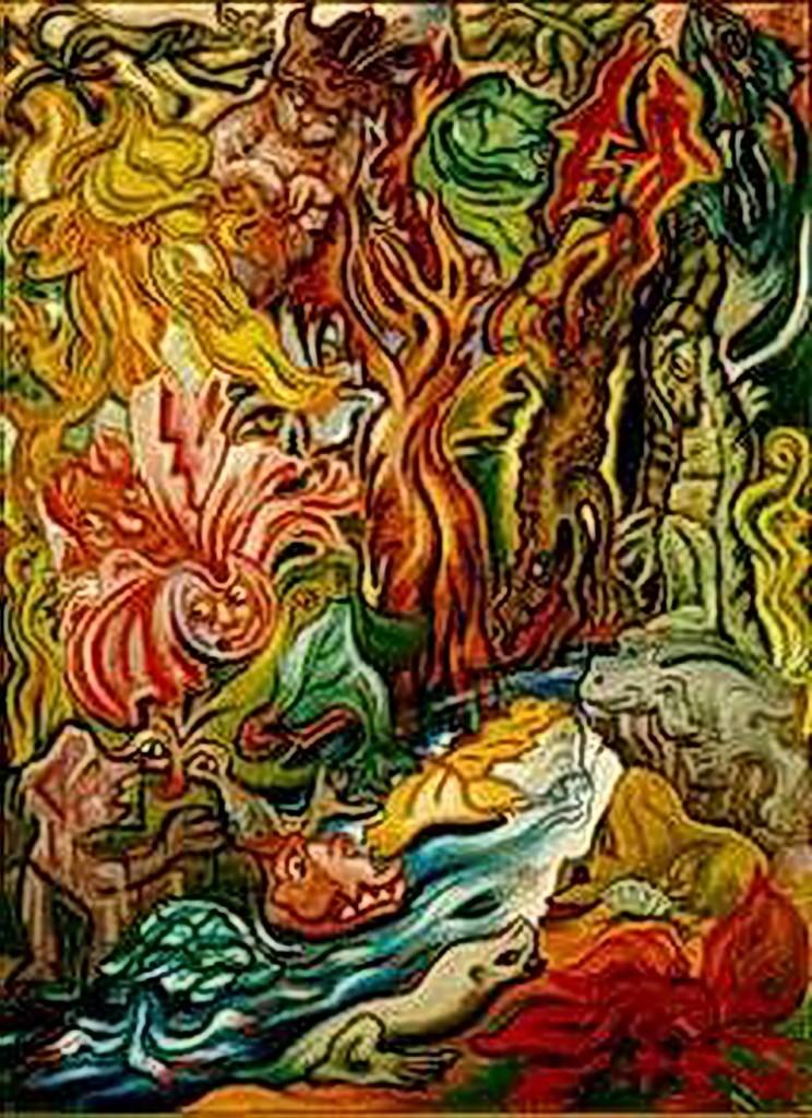 """Wie viele Gesichter birgt das Ölgemälde """"Kreatürliches"""" der expressionistischen Malerin Emmy Klinker?"""