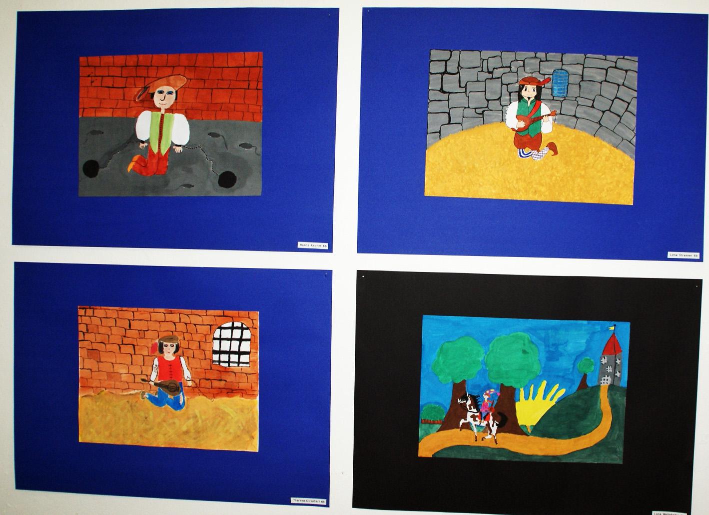 Der spätmittelalterliche Minnesänger Peter Unverdorben in vielen Farben, Formen und Facetten, dargestellt in Schülerarbeiten im Rahmen der Kreativ-Aktion 2015.