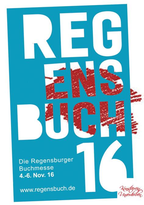 Messe-Logo des Kunstvereins Unverdorben bei der 1. Regensburger Buchmesse.