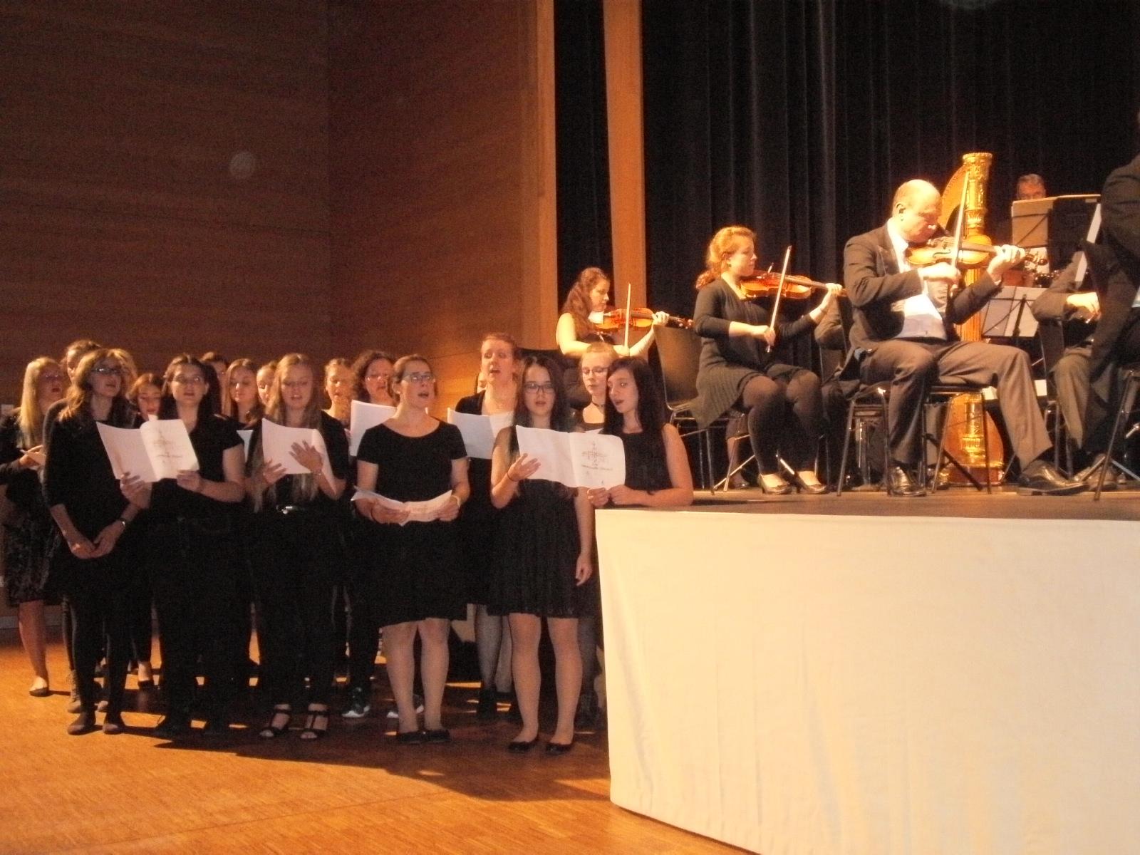 """Der große Auftritt ist gekommen: Chor-Workshopdteilnehmer des RTG Nittenau singen den Eingangschor aus Smetanas """"Die verkaufte Braut"""" in der Schwarzachtalhalle."""