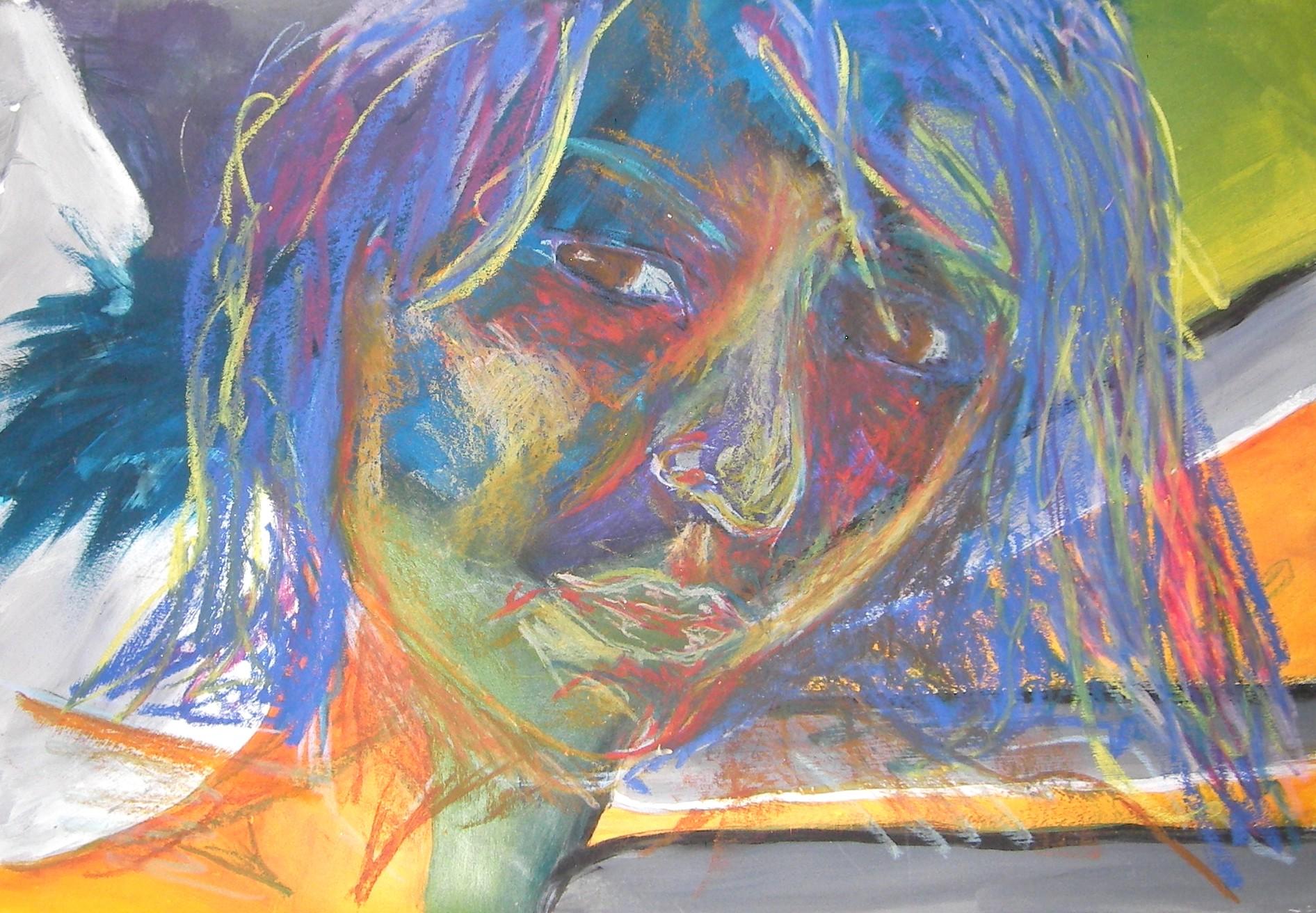 Die Weidener Künstlerin Sandra Hosol (Atelier Roschau) ist bei der Ahoj-16-Kunstprozession u. a. mit ihrem Portrait-Triptychon vertreten. Foto: Atelier Roschau
