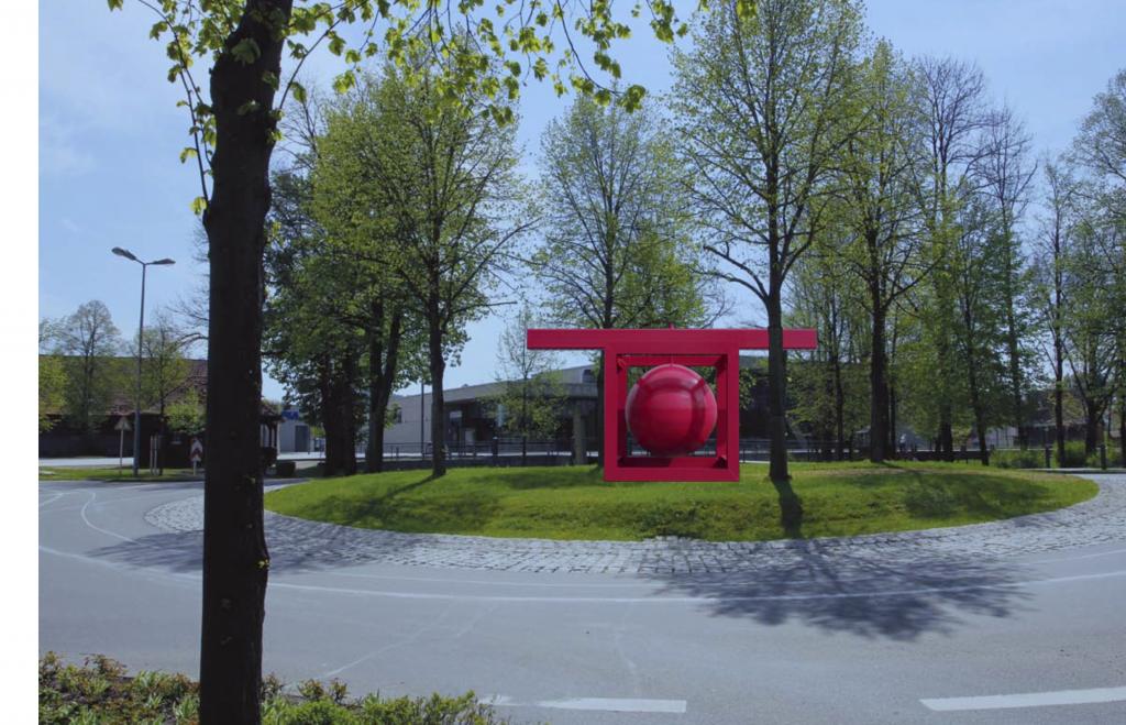 """Computer-Simulation einer Kunstinstallation, die der Klattauer Künstler Václav Fiala bei der Internationalen Herbstausstellung im """"Zantkreisel"""" realisieren wird."""
