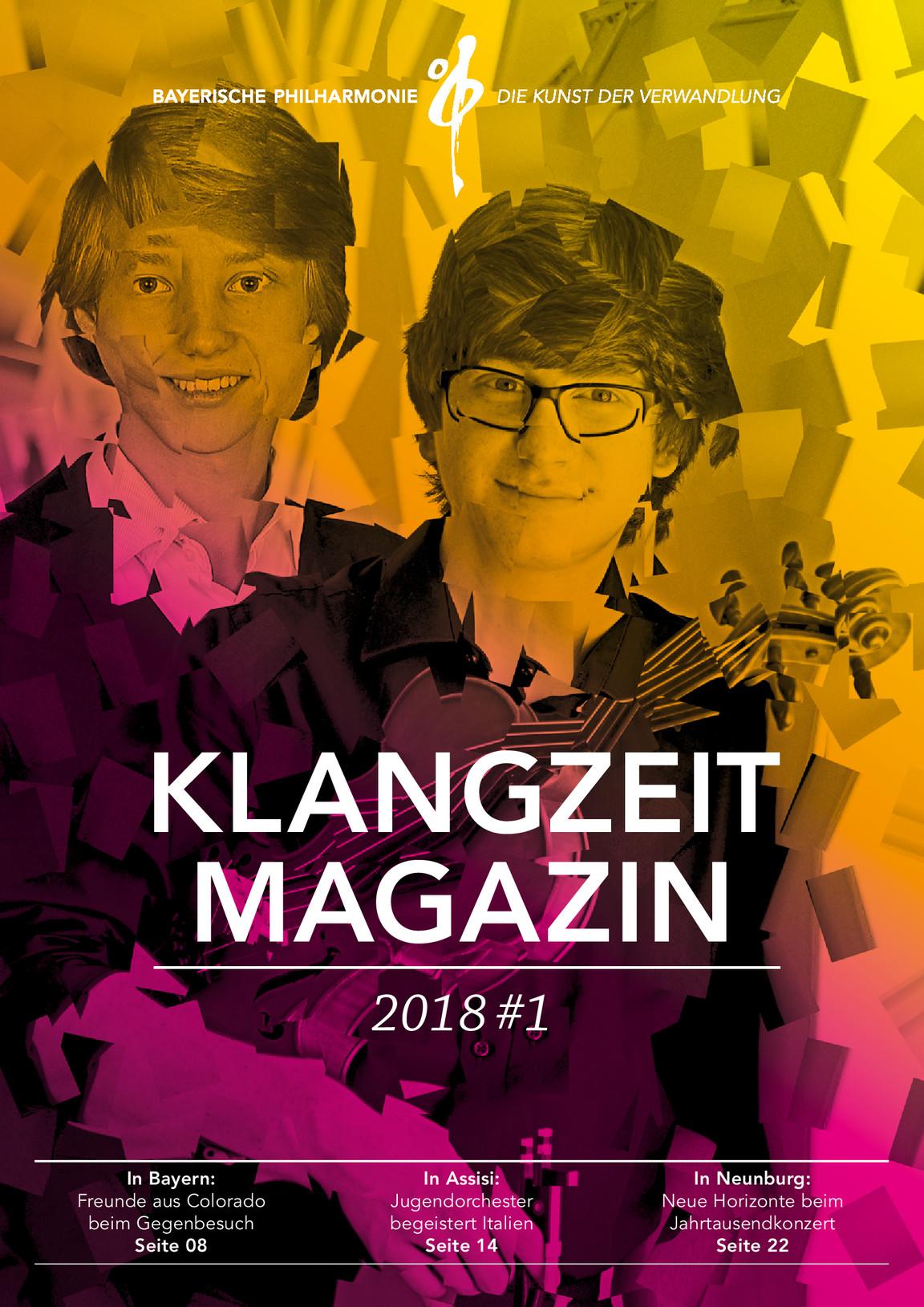 """Das soeben erschienene Klangzeit-Magazin 2017/18 der Bayerischen Philharmonie widmet dem Neunburger Jubiläums-Kulturprojekt """"Jahrtausendkonzert"""" eine illustrierte Doppelseite."""