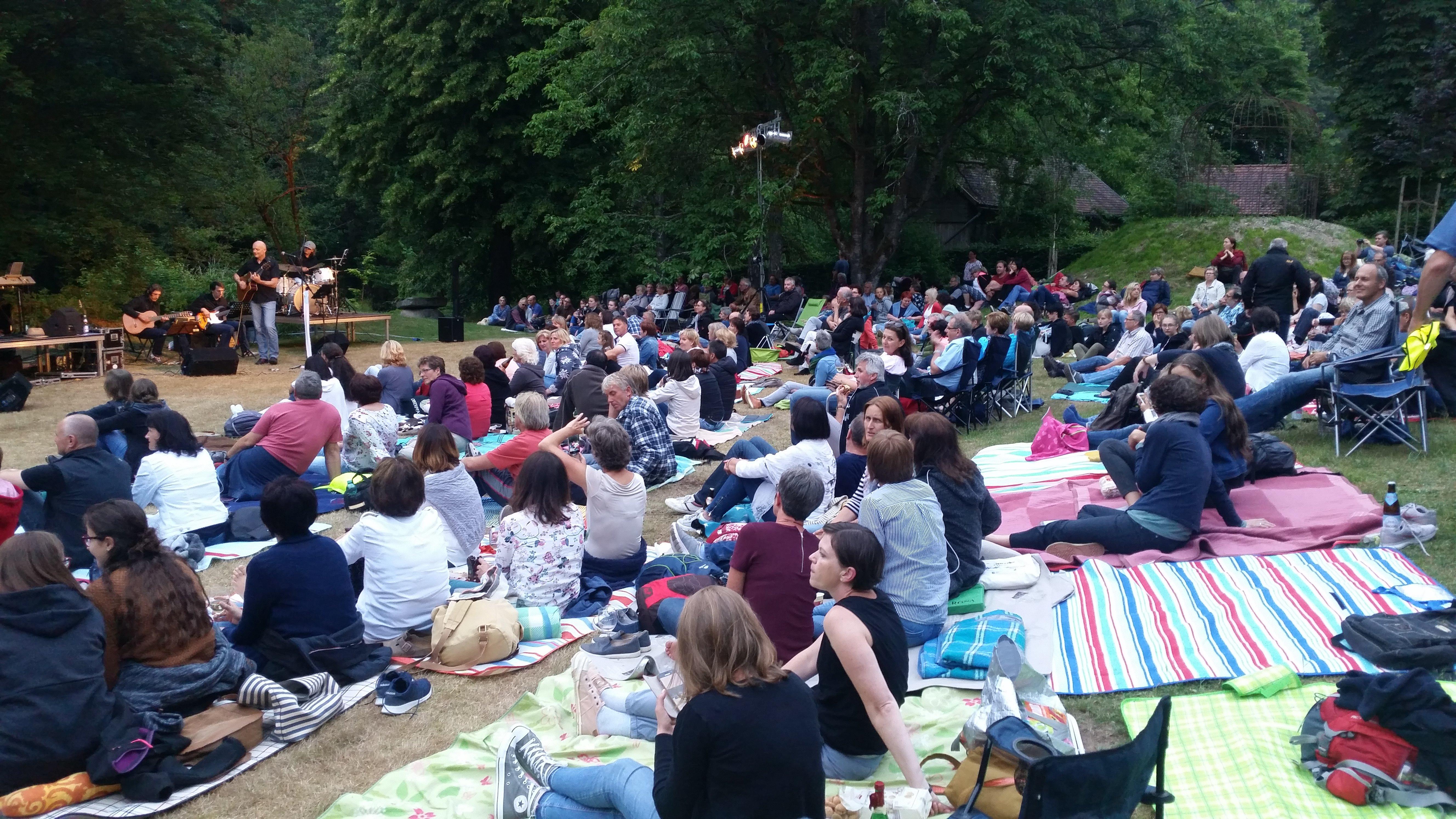 """Dicht umlagert war das Podium der Musiker von Just One More von Besuchern des Freiluftfestivals """"Songs an einem Sommerabend im Murnthal"""". Foto: Alois Feldmeier"""