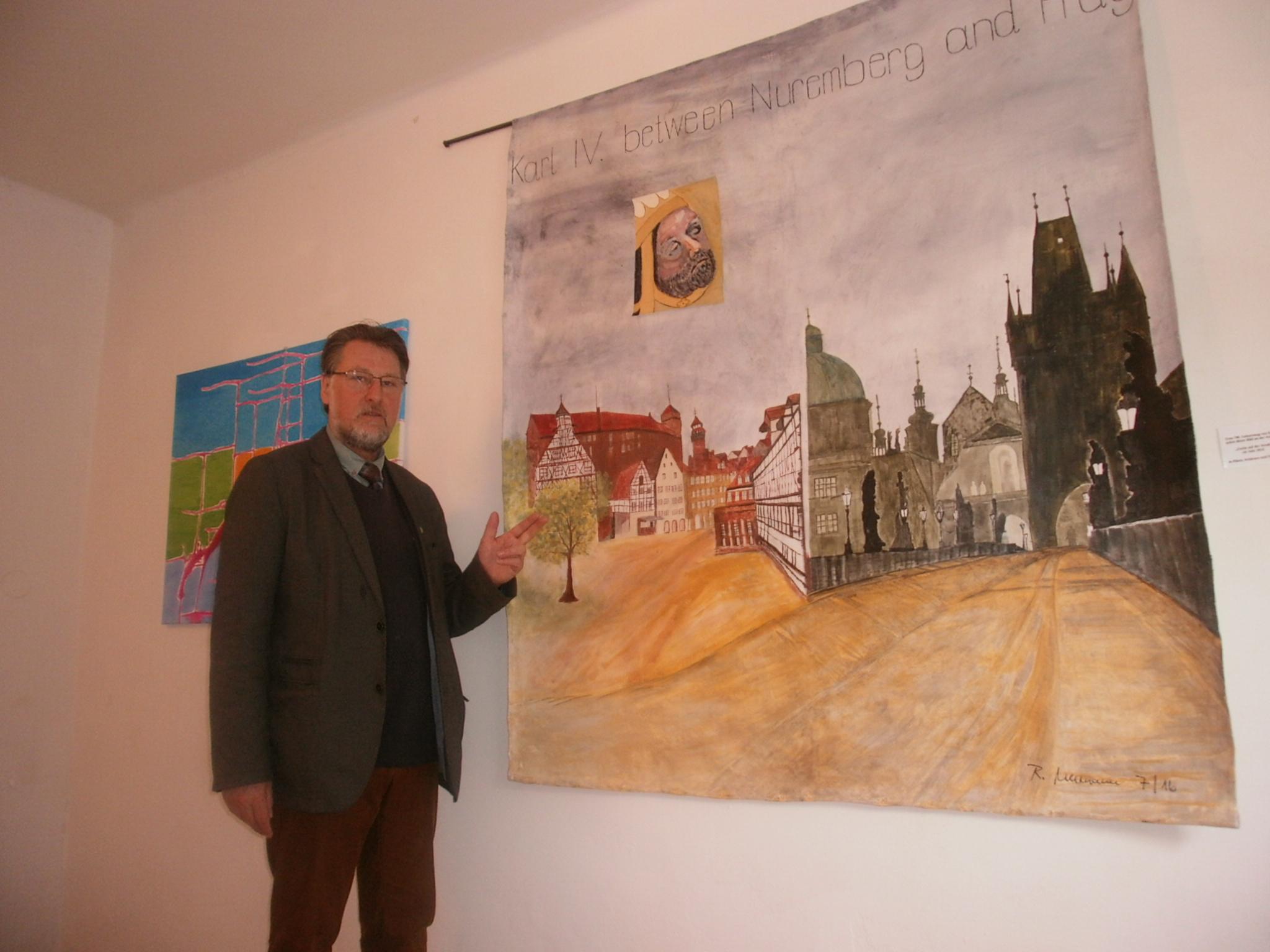 """Dieses Werk der Künstlerin Renate Ullmann (""""Farbe auf der Straße im Jahr 2016"""" wurde anlässlich des 700. Geburtstags von Kaiser Karl IV. in Pilsen, Schönsee und Nürnberg gezeigt."""