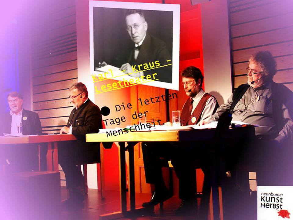 """Musikalische Lesung """"Die letzten Tage der Menschheit"""", Teil I, im Neunburger Kunstherbst 2014 im Kath. Pfarrsaal St. Josef. Foto: Alfred Grassmann"""