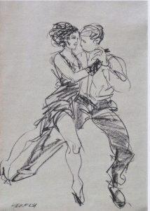 Susanne Heinrich: TANGO Kohle/Papier, ca. 65 x 45 cm
