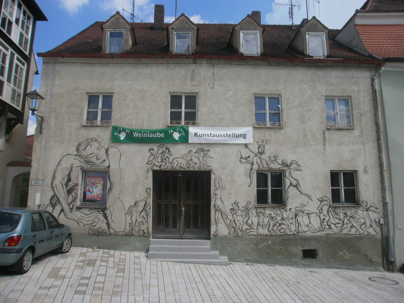 Quartier des Neunburger Kunstvereins Unverdorben e. V. im (inzwischen abgebrochenen) Gebäude Im Berg 7, 2013 bis 2018. Foto: Karl Stumpfi, KVU